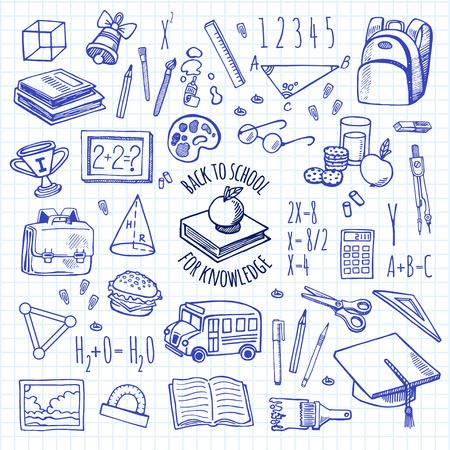 Herramientas de la escuela dibujan iconos en un fondo a cuadros conjunto de vectores de aislamiento. Fondo de la escuela.