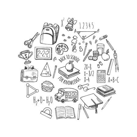 Hulpmiddelen van de school sketch iconen isolatie in een cirkel vector ontwerp illustratie. Achtergrond School. Vector Illustratie