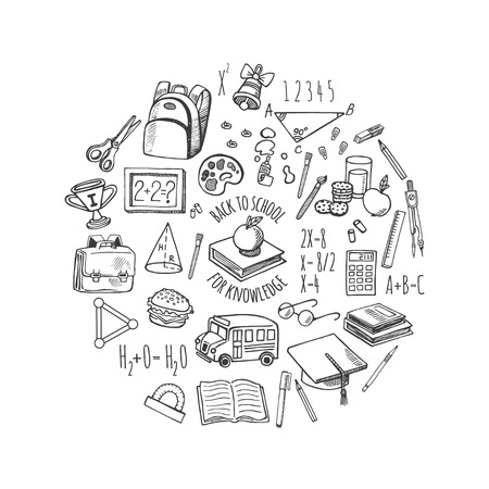 back to school supplies: School tools sketch icons isolation in a circle vector design illustration. Background School.