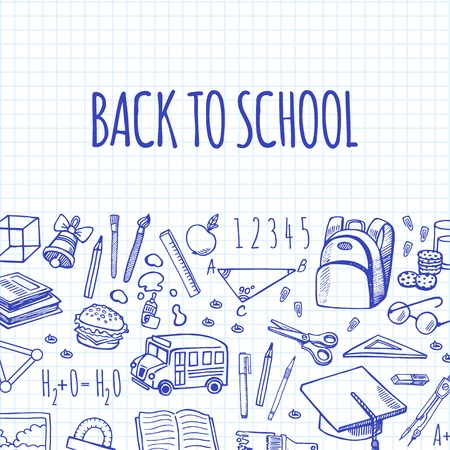 School tools sketch icons on a plaid background isolation vector horizontal banner. Background School.