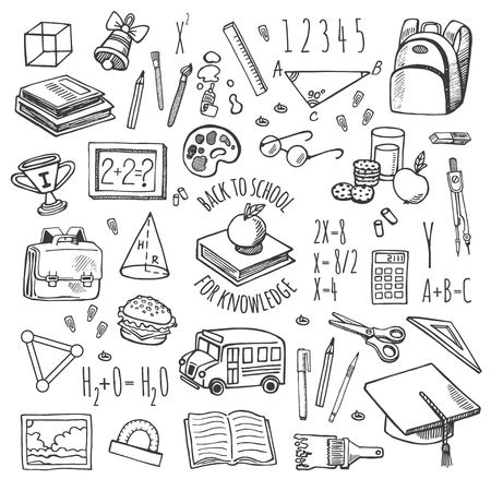 rough draft: School tools sketch icons on a plaid background isolation vector set. Background School.