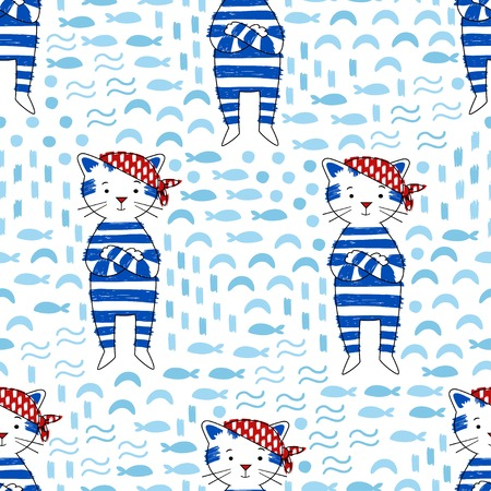 mariner: Pirate Cat in a blue sailor suit on a white background vector seamless pattern. Marine style background