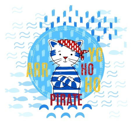 red bandana: Portrait pirate cat in a red bandana vector illustration. Boy design. Illustration