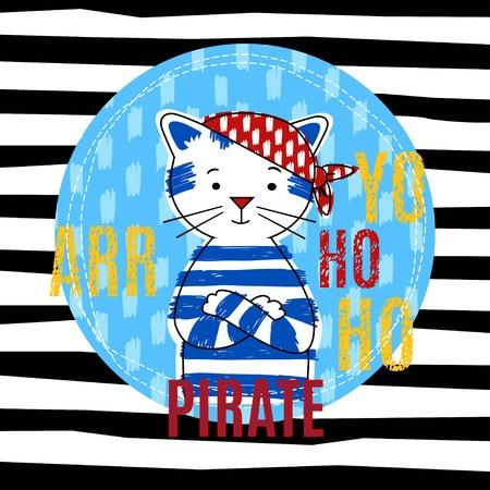 cat suit: Cat pirate  vector illustration, T-shirt boy design