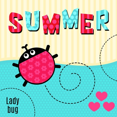 says: Card creeping ladybug red that says summer vector illustration, T-shirt design.