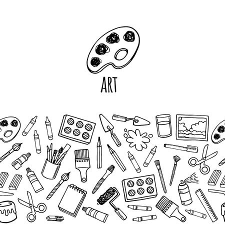 Artist tools sketch hand drawn horizontal banner white and black vector. Art background.