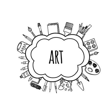 Artist tools sketch hand drawn bubbles vector. Art background.