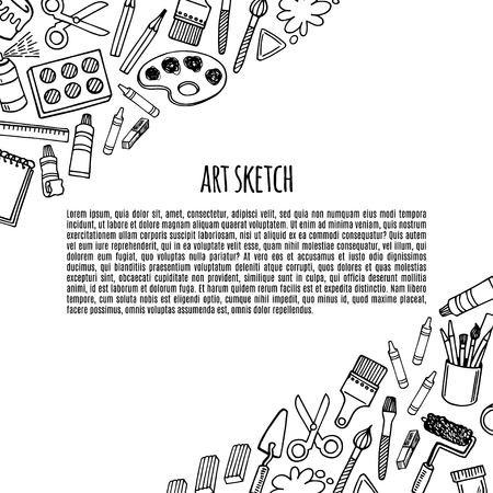 Artist tools sketch hand drawn banner white and black vector. Art background. Vector Illustration