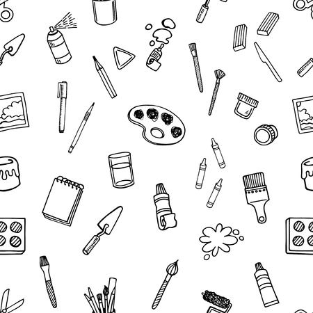 Artist tools sketch hand drawn set vector white and black seamless vector pattern. Art background.