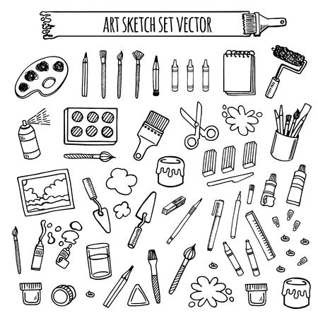 Art tools sketch hand drawn set vector white and black desing. Art background.
