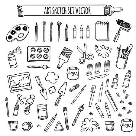 Art gereedschappen schets hand getekende set vector wit en zwart desing. Art achtergrond. Stock Illustratie