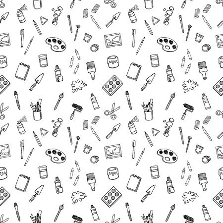 paintbrush spray: Artist tools sketch vector white and black seamless vector pattern. Art background. Illustration