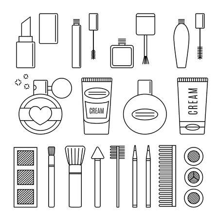 Make-up und Kosmetik Vektor-Set. Hintergrund Mode