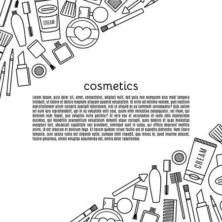Banner Make-up und Kosmetik Vektor-Set. Hintergrund Mode