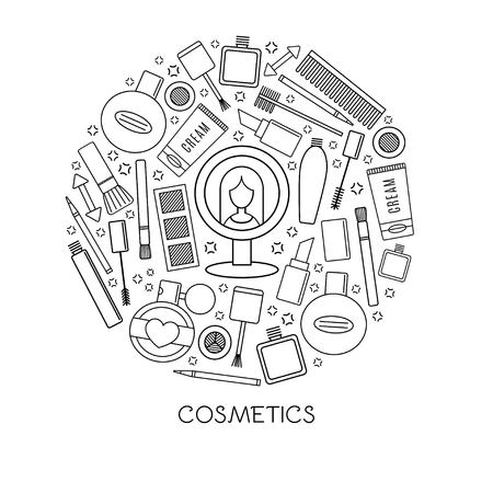 Make up and cosmetics icons isolation in a circle vector design illustration.