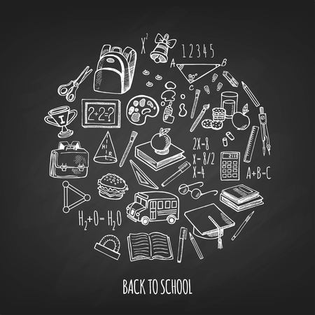rough draft: Back to school tools sketch icons isolation in a circle design illustration. Background School.