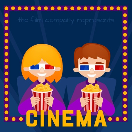 moviehouse: Moviegoers to the cinema illustration. Kids Watching a Movie with 3D Glasses