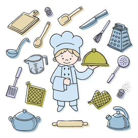kitchener: Kitchener tools color vector icons set. Profession background