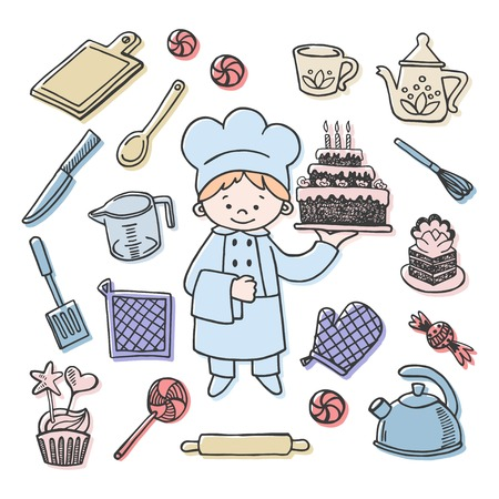 confectioner: Confectioner tools color vector icons set. Profession background Illustration