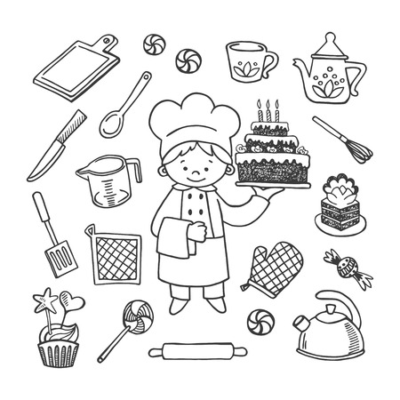 skimmer: Confectioner white and black tools vector icons set. Profession background