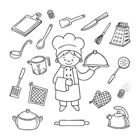 kitchener: Kitchener tools white and black vector icons set. Profession background Illustration