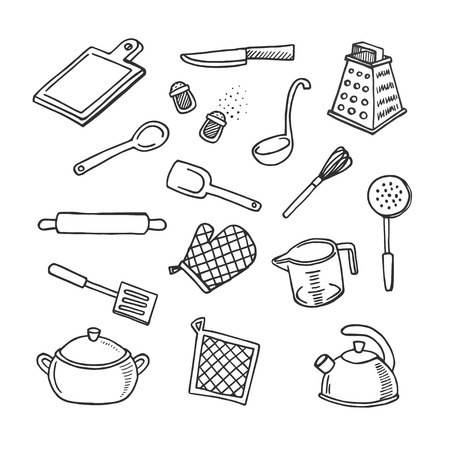 skimmer: Cooks tools hand-drawn white and black vector icons set Illustration