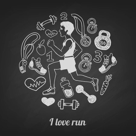 quickly: Run hand drawn set vectoron a blackboard. Healthy lifestyle background