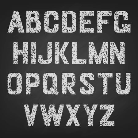calculus: Vector alphabet of chalked white and black . english alphabet Illustration