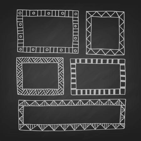 Set of hand drawn vector rectangular frame  isolated on a blackboard Illustration