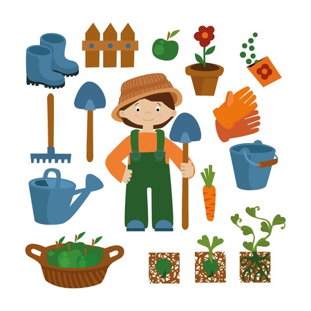 an agronomist: Farmer flat set vector icons. Profession background: farmer, garden, agronomist Illustration
