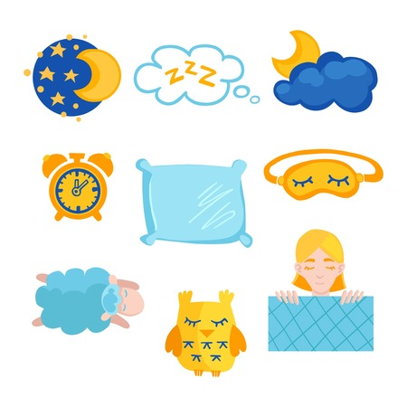 restful: Sleep time flet icons set isolated vector illustration