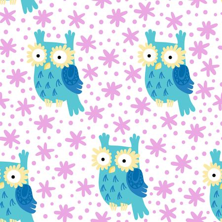 nigth: Cute Owl vector seamless pattern. Forest background