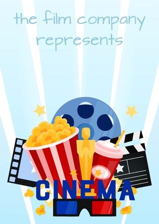 illustration editable: Cinema vector illustration.Popcorn, drinks , film strip and ticket.