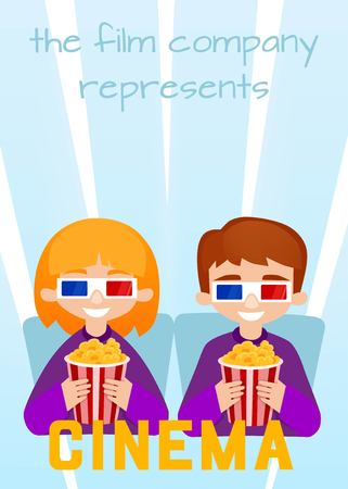 moviehouse: Moviegoers to the cinema vector illustration. Kids Watching a Movie with 3D Glasses