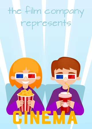 watching movie: Moviegoers to the cinema vector illustration. Kids Watching a Movie with 3D Glasses