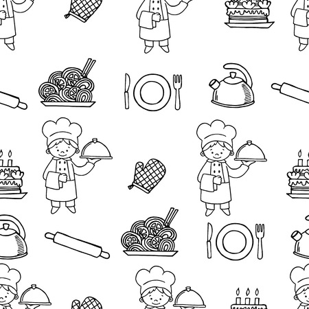 patternbackground: Cook white and black seamless pattern.Background Kitchen.