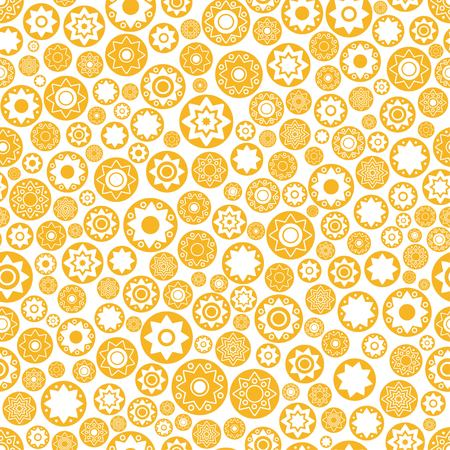 Disk yellow star vector seamless pattern. Star background