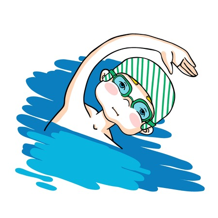 pool player: Swim the crawl boy color drawing. Healthy lifestyle background.