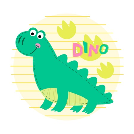 dinosaur cute: Dinosaur on striped background illustration. Dinosaur