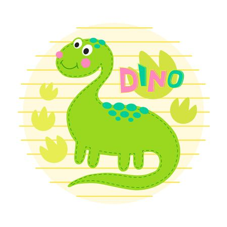 cute dinosaur: Green dinosaur illustration. Dinosaur background Illustration