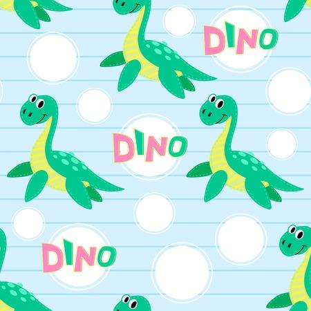 loch: Water dinosaur seamless pattern. Dinosaur background Illustration