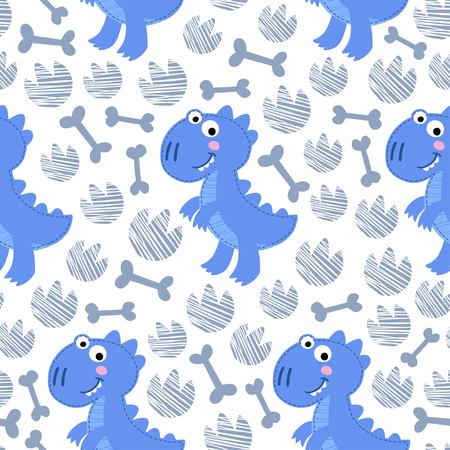 rex: Blue Dinosaur Rex seamless pattern. Dinosaur boy design Illustration