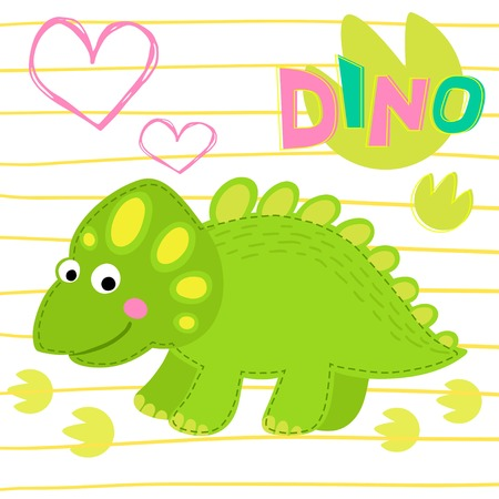 prehistorical: Green dinosaur on striped background illustration. Dinosaur Illustration