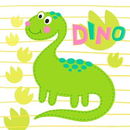 prehistorical: Green dinosaur on striped background  illustration. Dinosaur