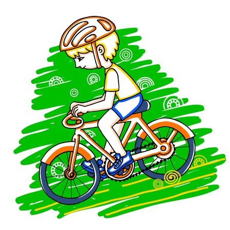 bicycler: Edit boy on a bicycle color drawing. Healthy lifestyle background.