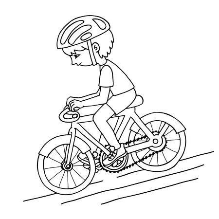 bicycler: Edit boy on a bicycle contour drawing. Healthy lifestyle background.