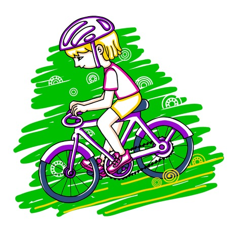 bicycler: Edit girl on a bicycle color drawing. Healthy lifestyle background. Illustration
