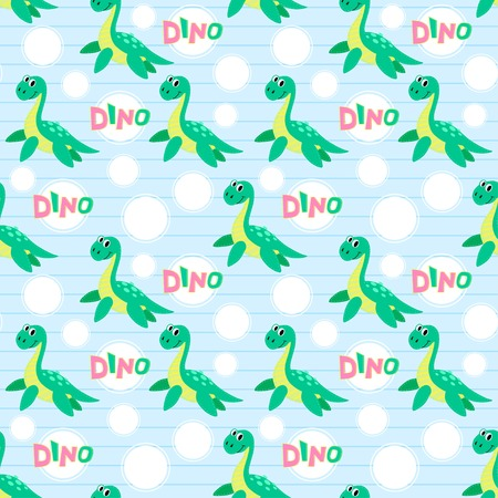 childish: Water dinosaur vector seamless pattern. Childish vector design.