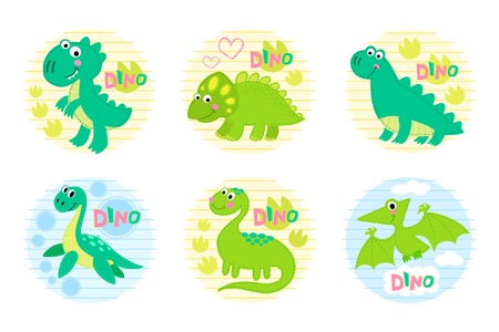 childish: Dinosaur set vector illustration. Dinosaur design. Childish vector design.