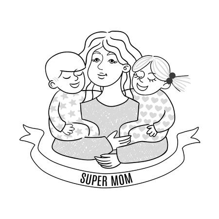 Happy mother s day card with cartoons black and white. Super mom vector illustration Ilustração